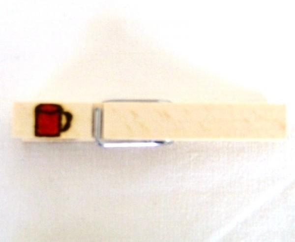 Holzklammer mit Motiv Glühweinbecher, einseitig