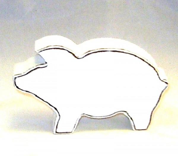Dekofigur Schweinchen MDF-Holz weiß im Shabby Chic Stil