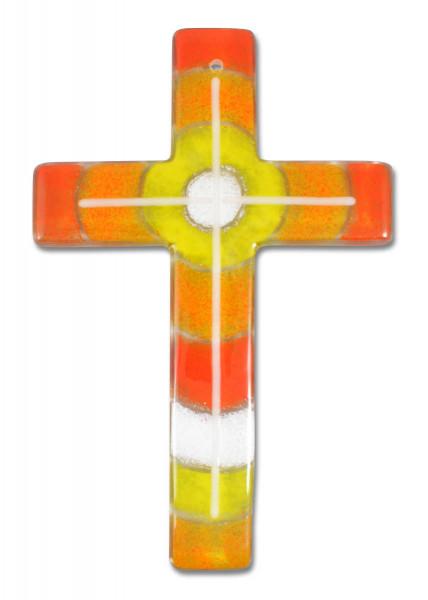 Glaskreuz handg.orange/weiß-gelb 20x13x0,5cm