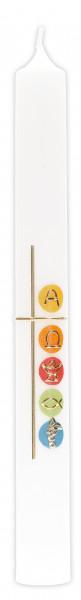 Kommunionkerze Wachsmotiv Kreuz christl Symbole
