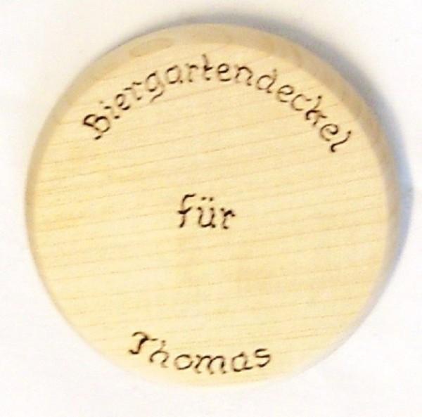 Bierdeckel aus Holz, Brandmalerei Text und Wunschname