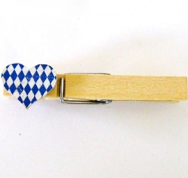 Holzklammer mit Applikation Herz Rauten blau-weiss Holz