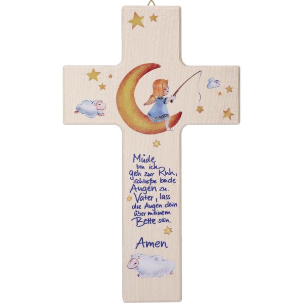 Kinderkreuz Holz, Motiv Müde bin ich geh zur Ruh