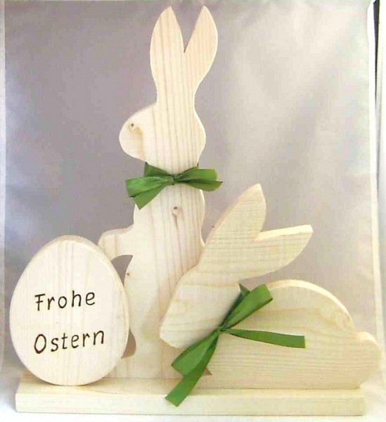 "Osterdeko Hasen mit Ei ""Frohe Ostern"" aus Holz, natur"