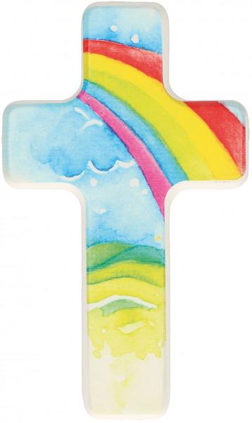 Kinderholzkreuz - Kreuz mit Motiv Regenbogen
