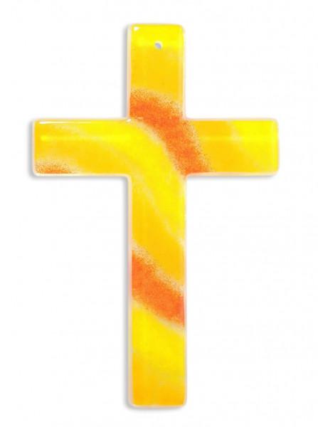 Glaskreuz handgearbeitet gelb/orange 20x13x3cm