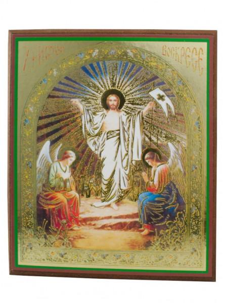 Ikone Auferstehung auf Holzplatte 10x12 04/80