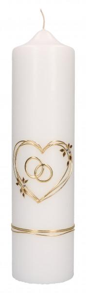 Hochzeitskerze mit Wachsmotiv Herz u. Ringe Gold