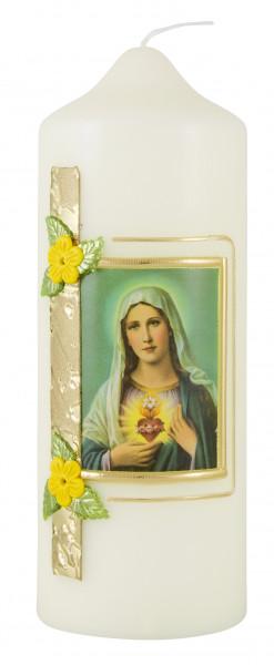 Marienkerze Herz Maria, Kerze Verzier. Rose gelb